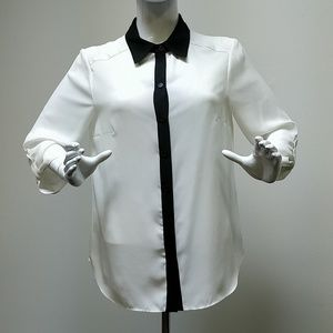 AB Studio Black & White Long Sleeve Chiffon Blouse